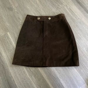 Banana Republic BrownLeather/Suede Skirt